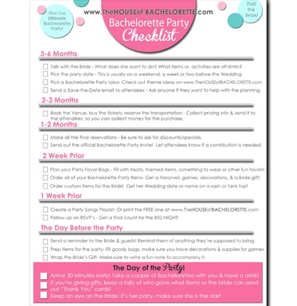 A FREE Bachelorette Party Checklist