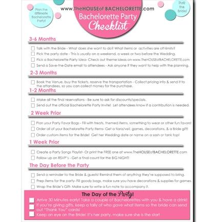 A FREE Bachelorette Party Checklist | Bachelorette Party ...