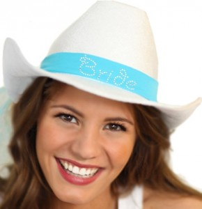 tiffany blue western hat and veil